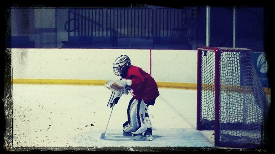Colin working on his goalie skills.
