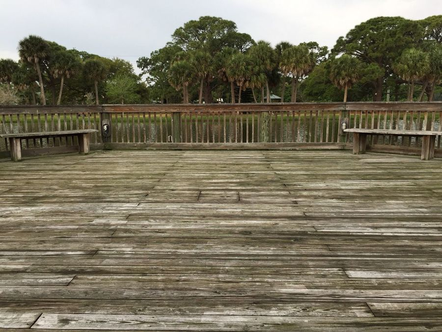 End of the dock Gleason Park Indian Harbor Beach Indian Habour Beach Florida Park Boardwalk Lakeside Lake View Palm Trees Wooden Dock