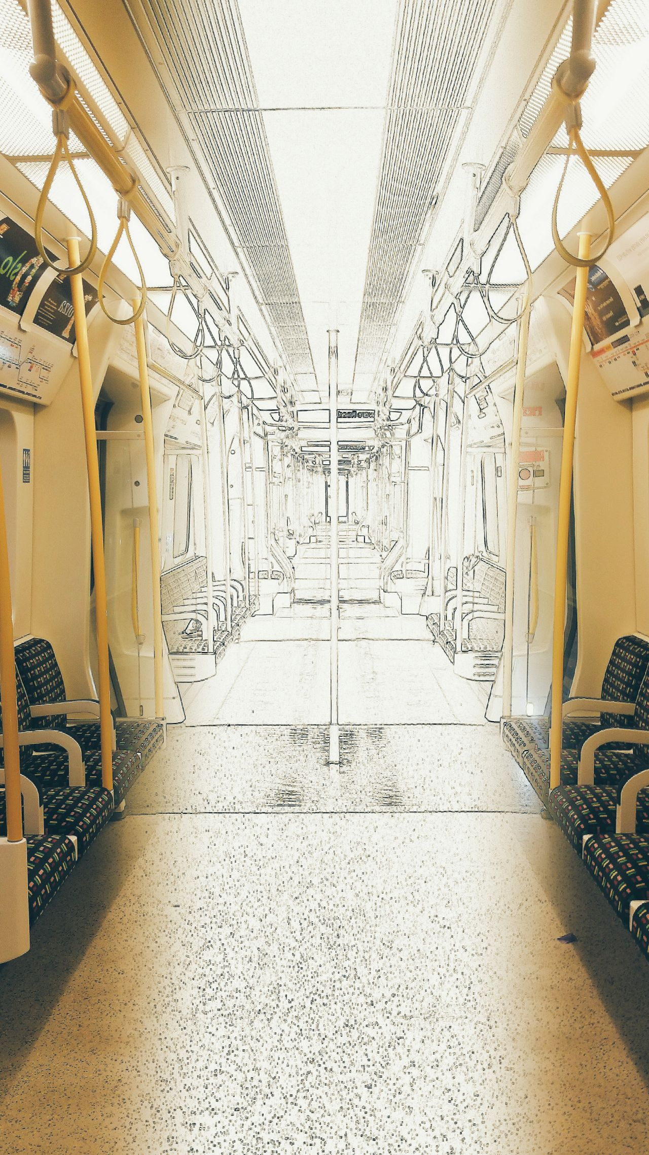 London Lifestyle Public Transportation Commuting Colour And Black And White London Underground On The Train Empty Train Inside A Train Yellow
