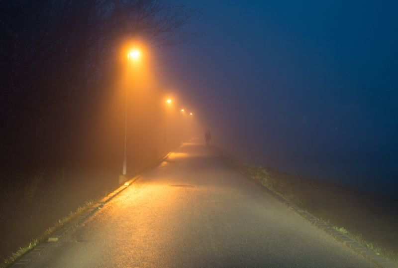 Foggy One Person Road Early Morning Foggy Morning Outdoors Winter Illuminated Road The Way Forward Paint The Town Yellow