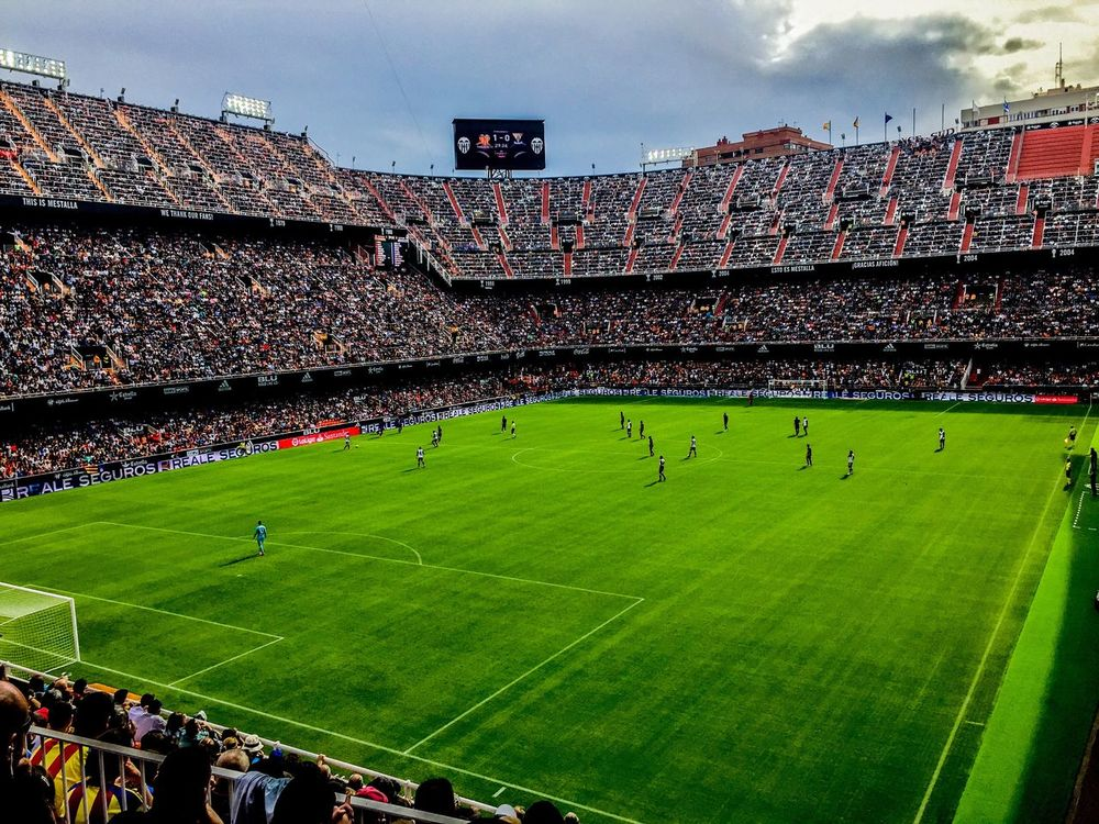 Mestalla Soccer Stadium Grass Sport Soccer Field Green Color Team Sport Playing Field Sports Team Spectator Outdoors Sky Crowd Soccer Player Day Fan - Enthusiast People