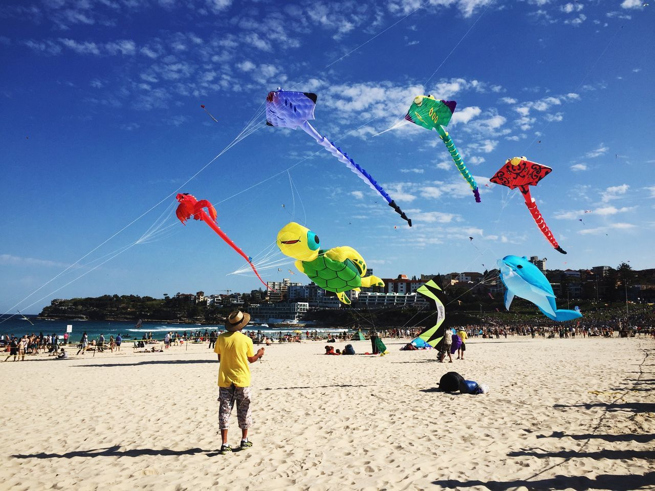 Watch them fly!   Enjoying The Sun Relaxing Kite IPhoneography Vscocam EyeEm Best Shots EyeEmBestPics Beach Bondi Beach Colors Of Carnival
