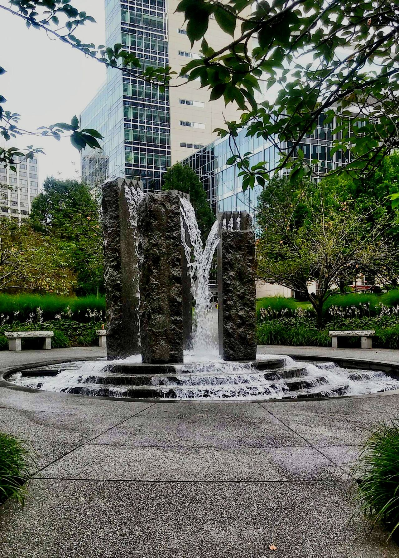 Pittsburgh Cityscapes Waterscape Water And Stones Urban Stones, Water, And Shrubbery Stones & Water Stonesculptures Downtown Pittsburgh Water Fountain Urbanscape
