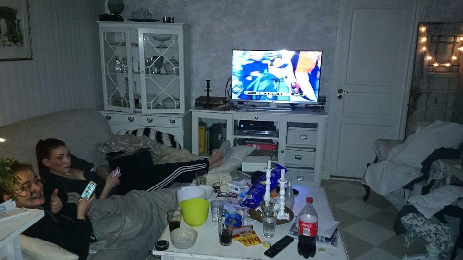 watching Super Bowl in Täby , Stockholm , Sweden