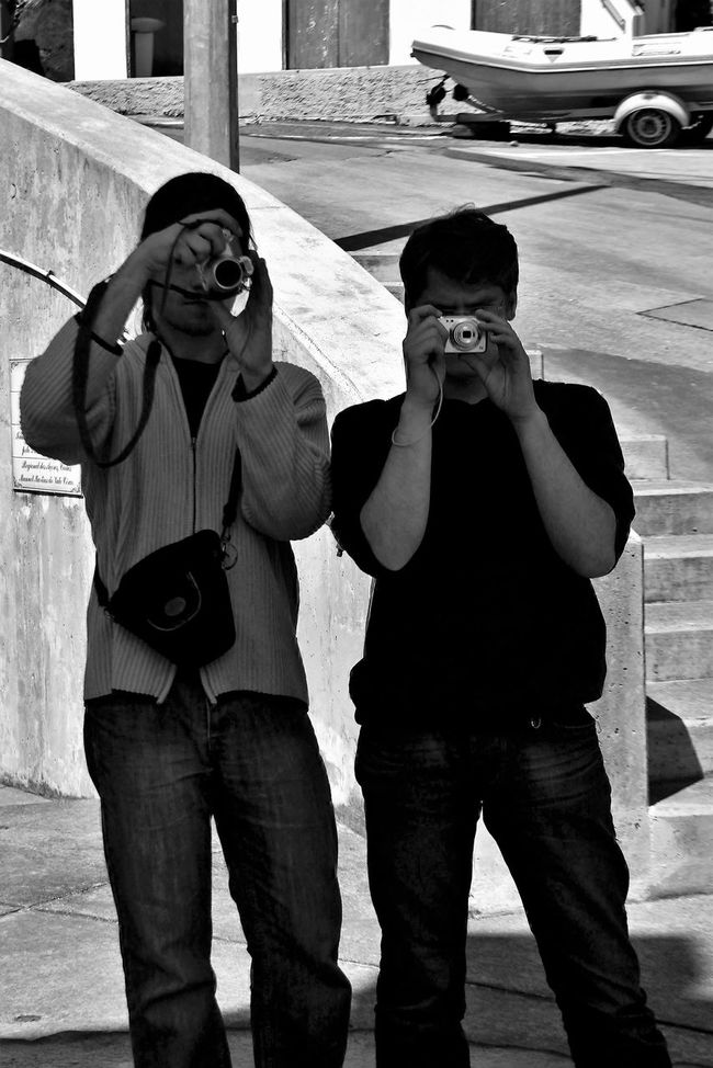 Black & White Bonding Casual Clothing City Contrasts Fisher Boat Harborside Leisure Activity Lifestyles Looking At Camera Love Mid Adult Mid Adult Men Person Photographer In The Shot Photographers Stairs Standing Three Quarter Length Togetherness Two Is Better Than One Two Of A Kind Two People Monochrome Photography Young Men