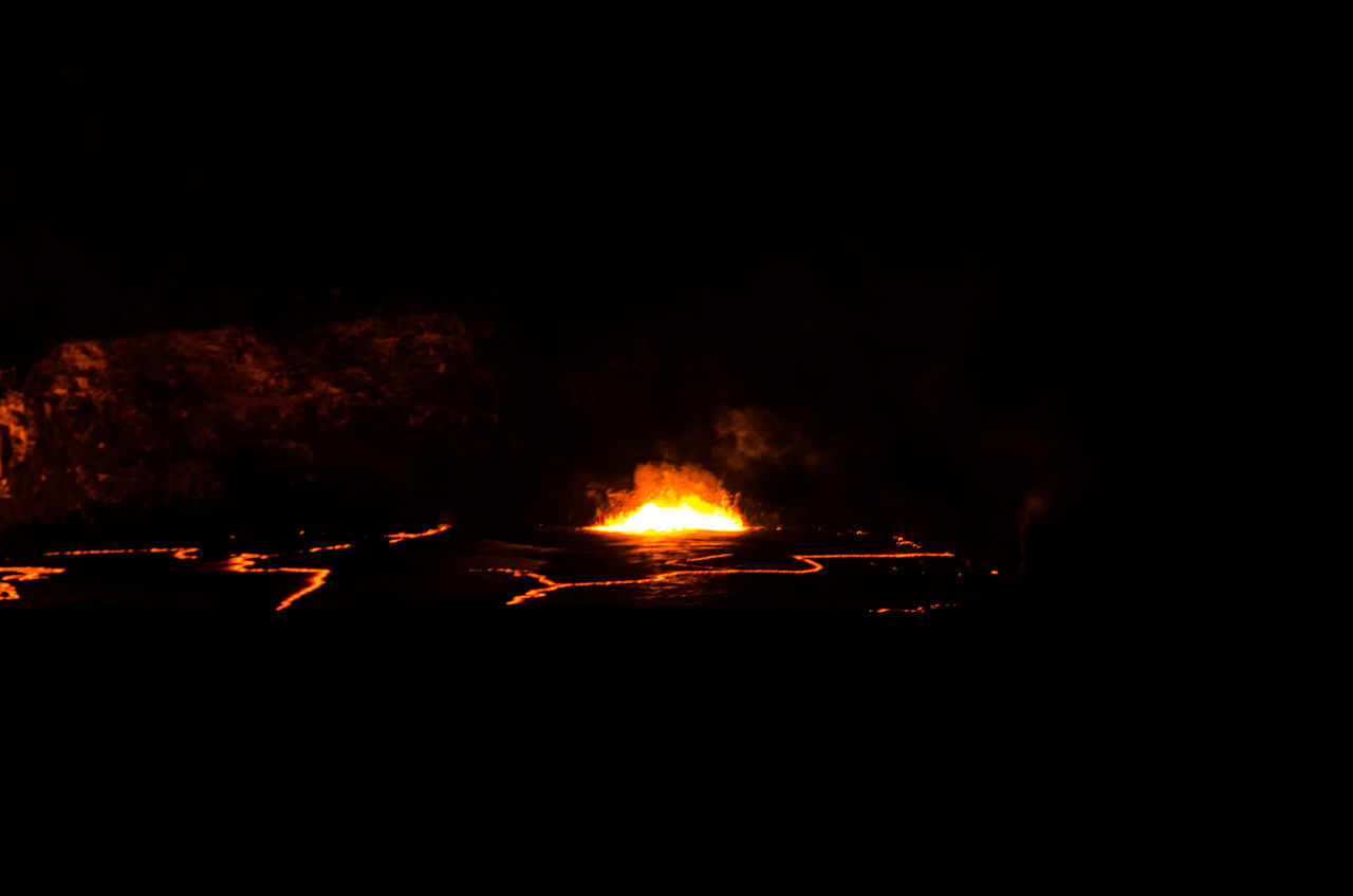 Active Volcano Big Island Hawaii Burning Dark Fire Flame Heat - Temperature Nature Night No People Outdoors Volcano Volcano National Park