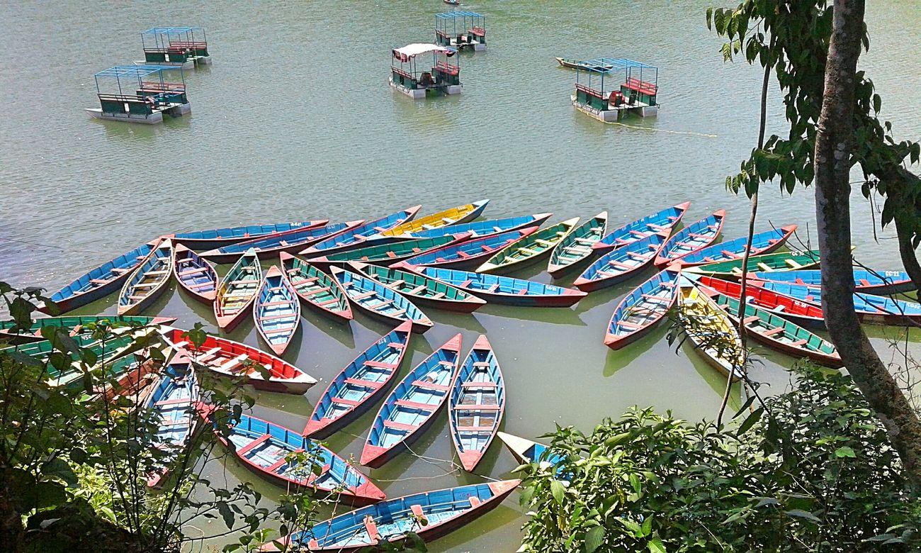 Pokhara, Nepal Pokhara Lake Water Mode Of Transport Outdoors No People Mobilephotography Beauty In Nature Nature Lake Boats Colourful Boats Phewa Lake Pokhara! Day