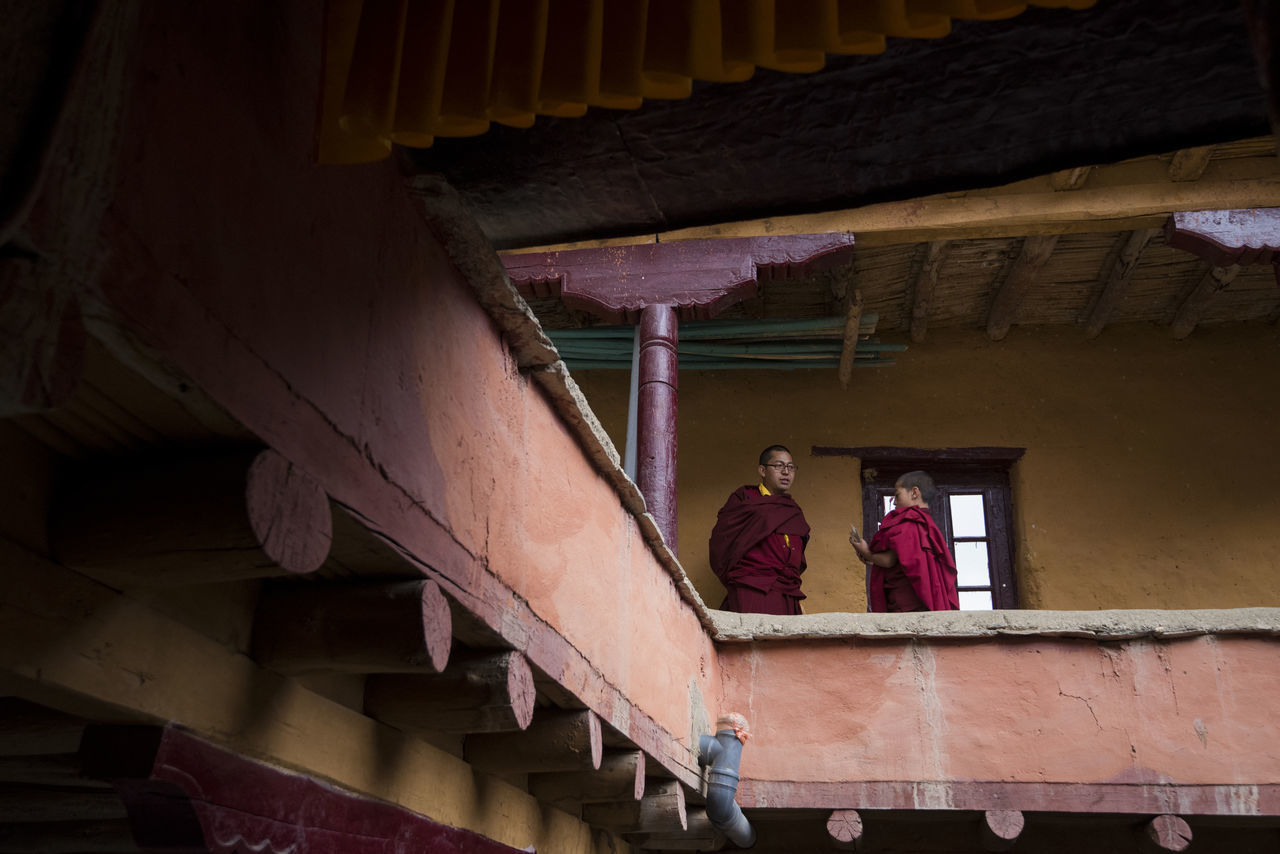 Architecture Building Built Structure Conversing Day Indoors  Kids Lamayuru Lifestyles Low Angle View Monastery Monks Real People Talking Two People Women