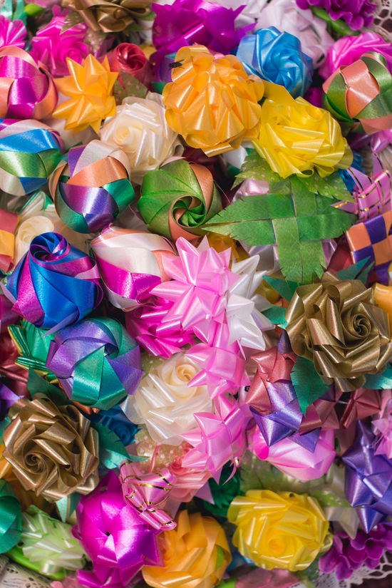 flowers handmade Art Backgrounds Choice Close-up Color Colorful Day Flower Flowers Full Frame Handmade Large Group Of Objects Multi Colored No People Ordain Outdoors Paper Pattern Ribbon Ribbons Tape Texture Variation