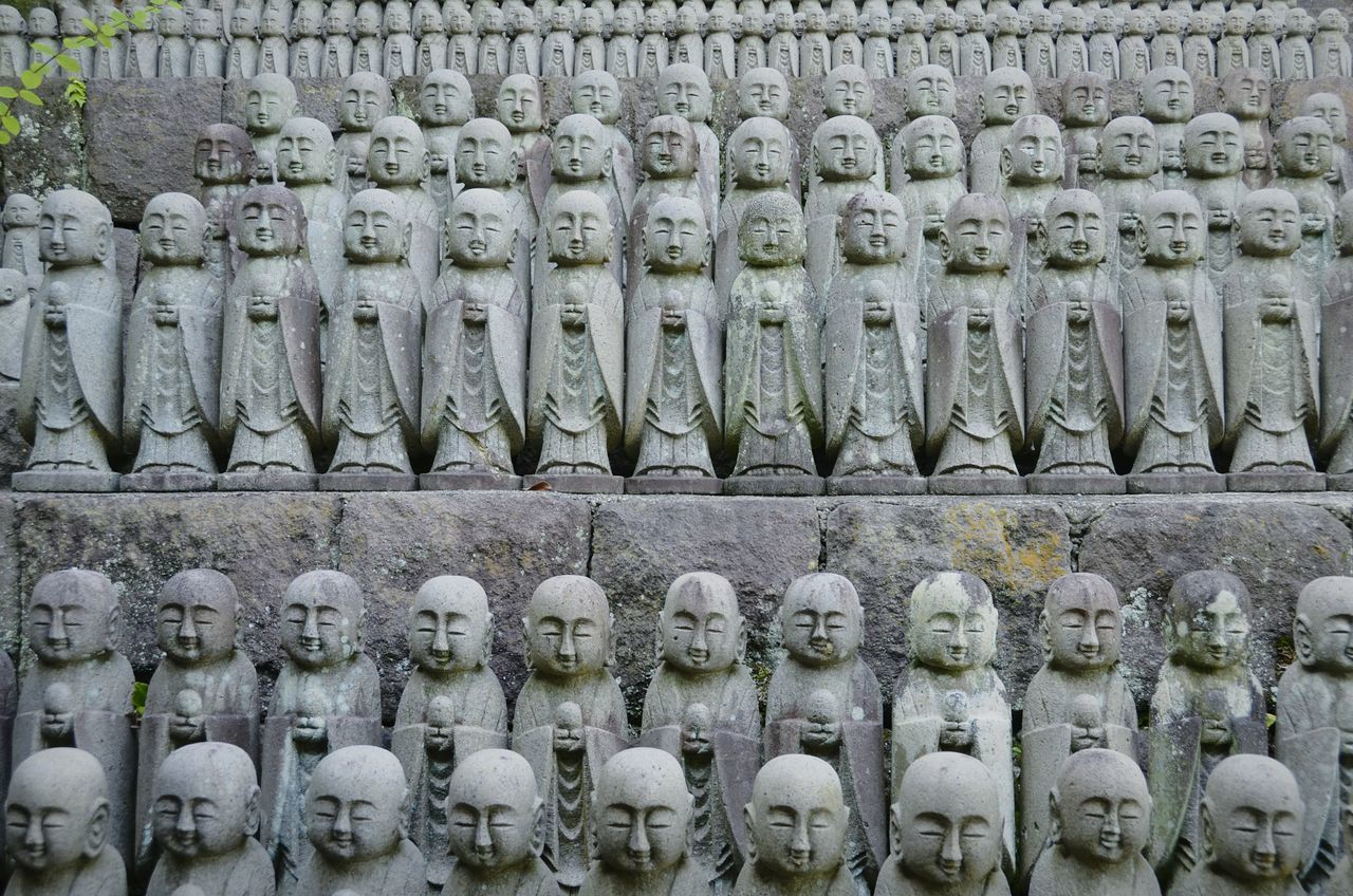 Arrangement Large Group Of Objects Abundance In A Row Variation No People Full Frame Backgrounds Day Close-up EyeEm Masterclass Tranquility Eye4photography  Outdoors Shootermag Eye4photography  Japan Japan Photography Buddha Statue Monks Religion