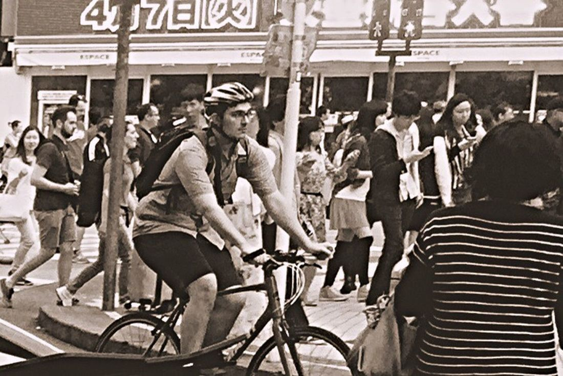 """Snap A Stranger Mode Of Transport .. 🅱ycicle race‼️ run through """"Shibuya""""..almost wind 🅿️assed ."""