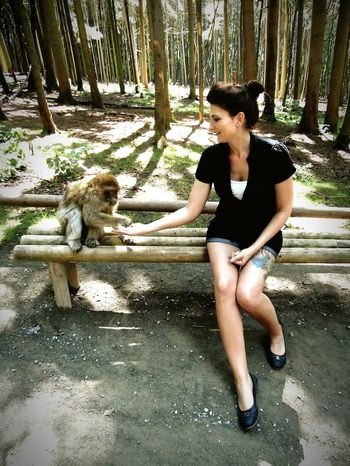Lifestyles Person Pets Young Women Nature Outdoors Beauty In Nature Affenberg Salem Bodenseeregion Wildlife Monkey Berberapes Berberaffen Feedme Animals In The Wild