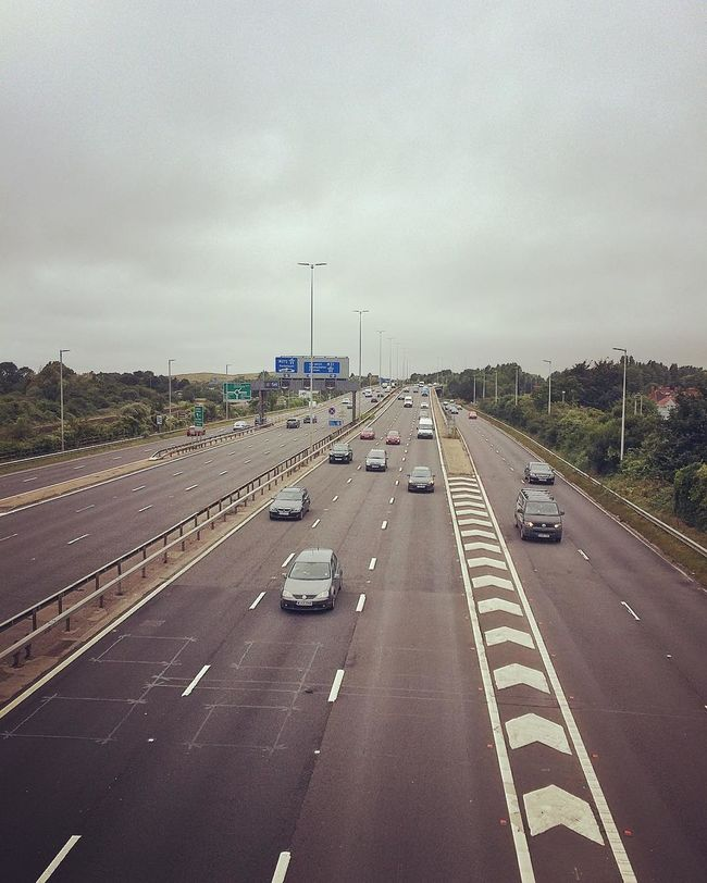 A27 A3 Cars Cloud - Sky Cosham Creek Creekside Day Diminishing Perspective M27 Outdoors Portsbridge Creek Portsbridge Roundabout Portsea Island Portsmouth Road Road Marking Road Sign Road Signs Signs Sky The Way Forward Transportation Vanishing Point White Lines