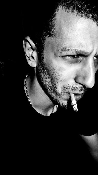 Portrait Cigarette  Black And White Darkness