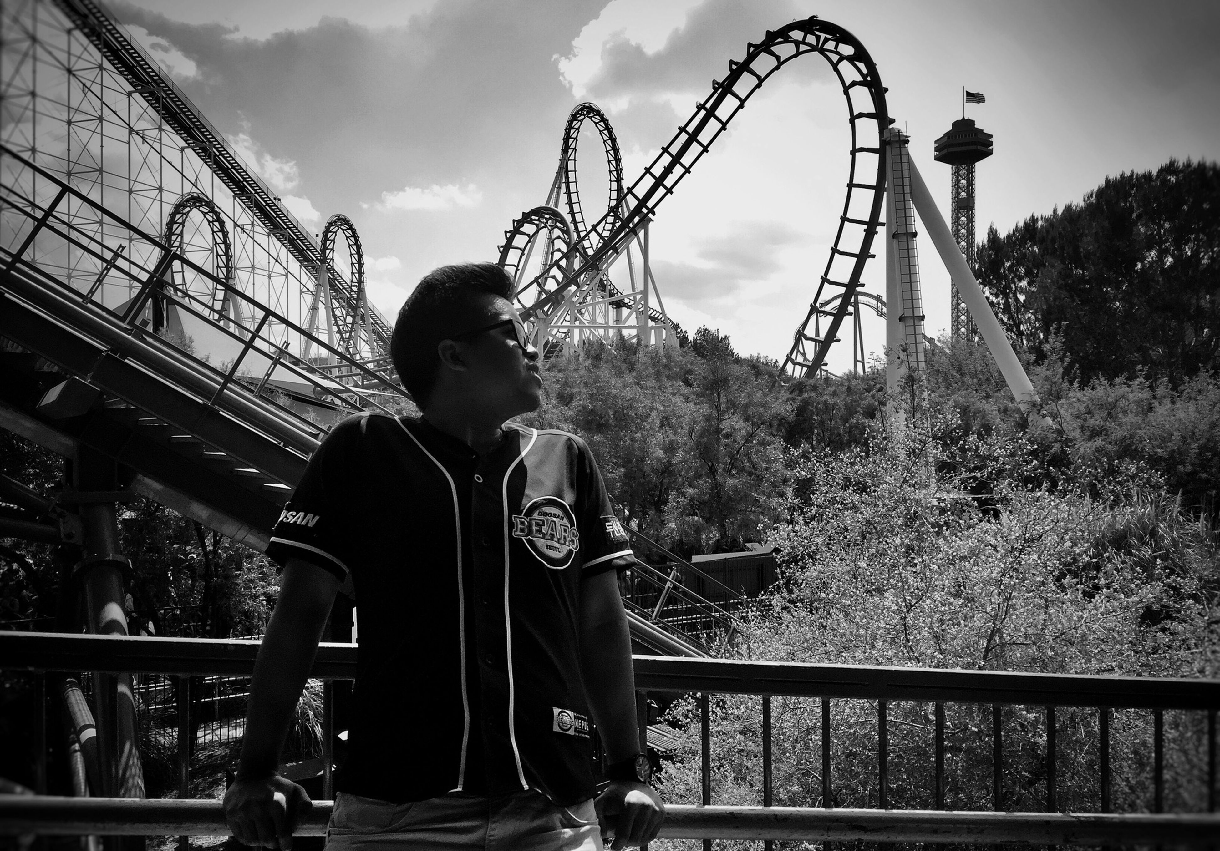 leisure activity, sky, amusement park, arts culture and entertainment, low angle view, lifestyles, amusement park ride, ferris wheel, cloud - sky, childhood, metal, tree, standing, casual clothing, rear view, built structure, men, holding