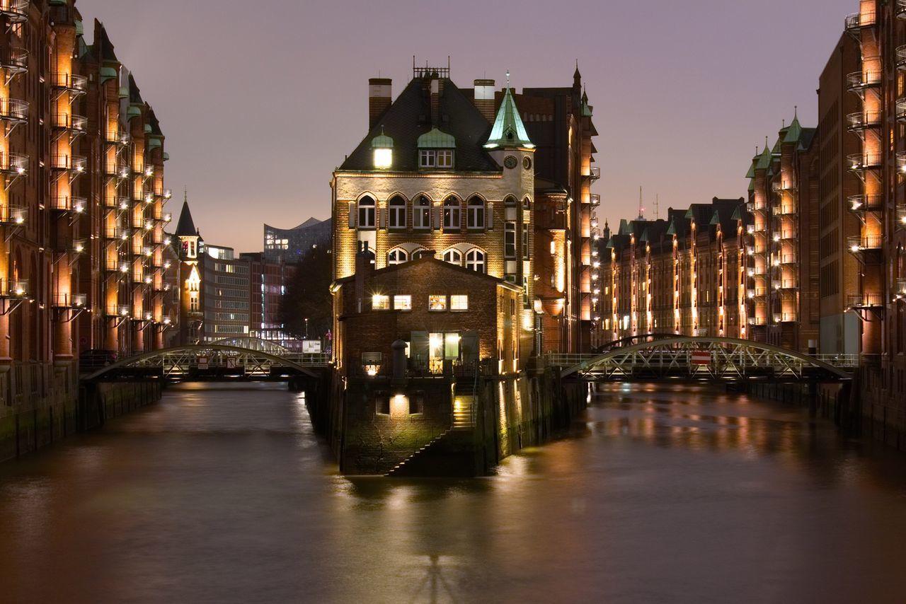 Illuminated Architecture Reflection Water Night Waterfront City Outdoors Hamburg Harbor Speicherstadt Fleet