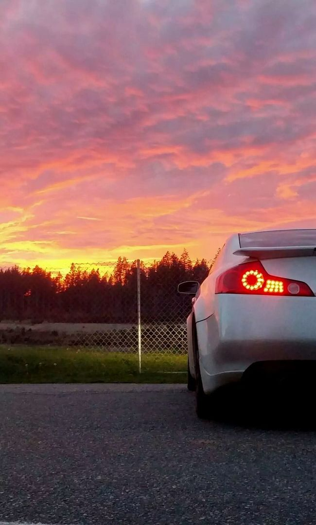 My g35 and a gorgeous sunset Sunset #sun #clouds #skylovers #sky #nature #beautifulinnature #naturalbeauty #photography #landscape Cars G35