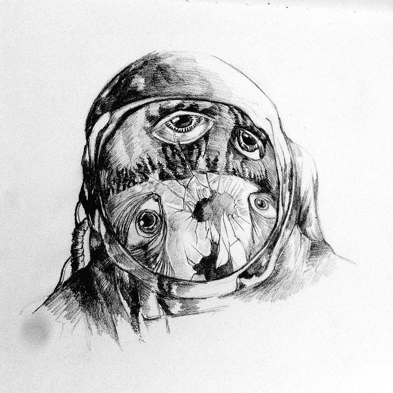 Space Eyes Other Planet Astronaut Grafito Drawing Lines