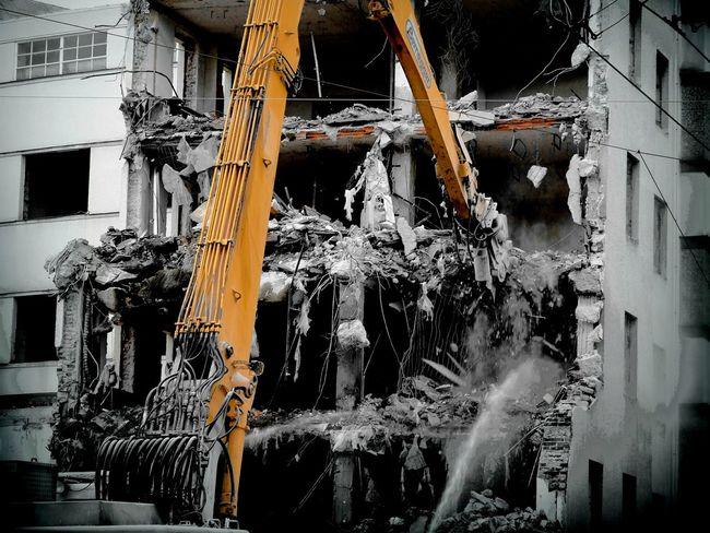 Distruction of Building Destroyed Stone Wall Stone Demolition Cranes Cranespotting Crane Linz/Austria Linz Arbeiterkammer Orange Orange Color