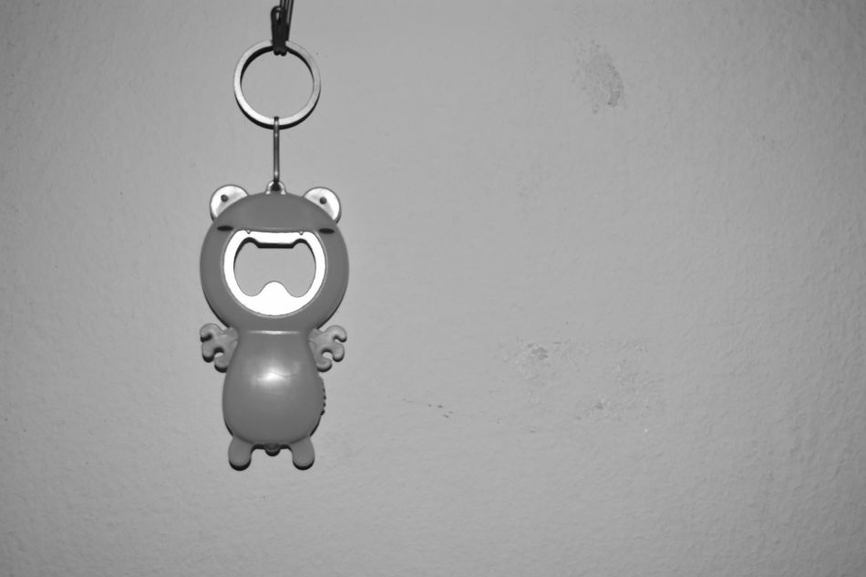 Frog keychain Close-up Day Frog Hanging Indoors  Key Chain Key Ring Monochrome Photography No People Sole The One White Background Blackground Blackandwhite Backgrounds Black Background Background