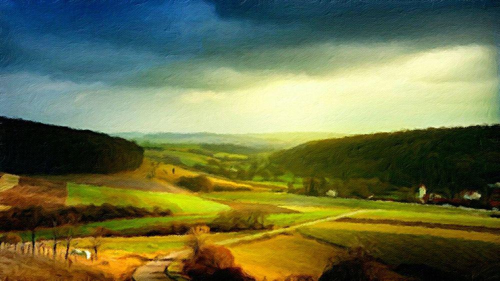 Landschaft zwischen Seesen und Northeim . Oil on canvas 60 x 100 cm 2014 Art Painting Landscape Nature Summer ☀ Way Trees Sky