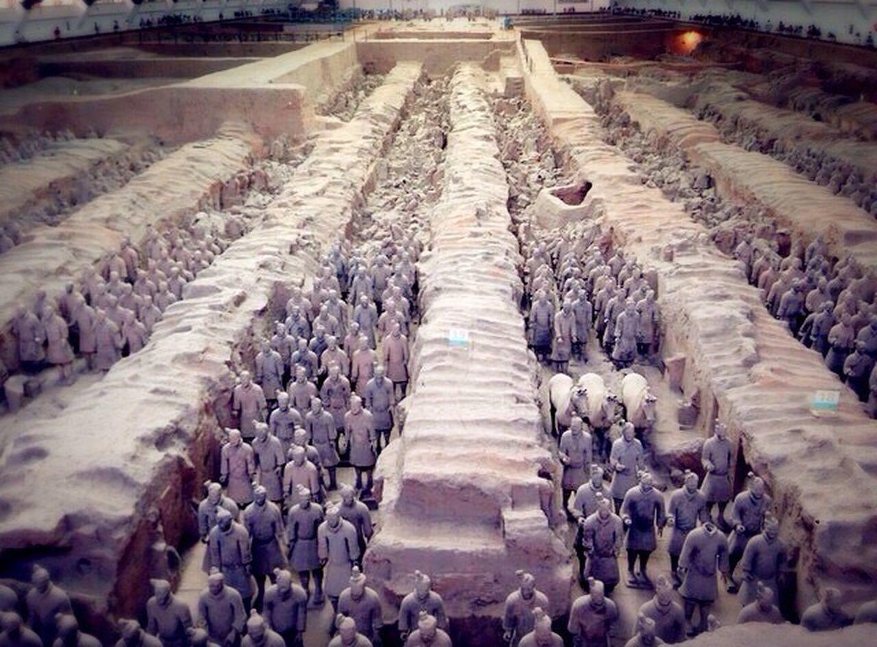 Qin Dynasty Terracotta Mounds Historical Sites Millenary Ruins Qin Shi Huang Mausoleum Bronze Emperor Funerary Xi'an China
