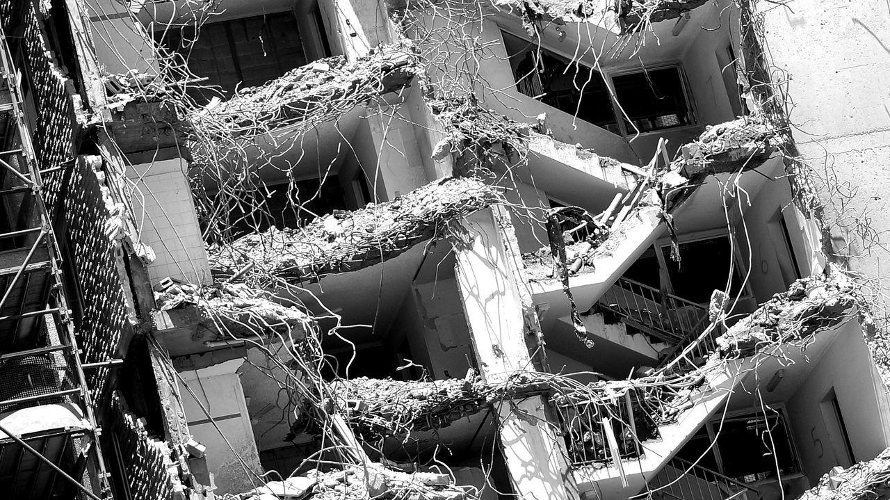 Demolition of old hi-rise building. Broken Broken Concrete Collapsed Building Demolition Hi-rise Demolition Old Building  Tear Down Twisted Steel Twisted Steel And Concrete Wrecking