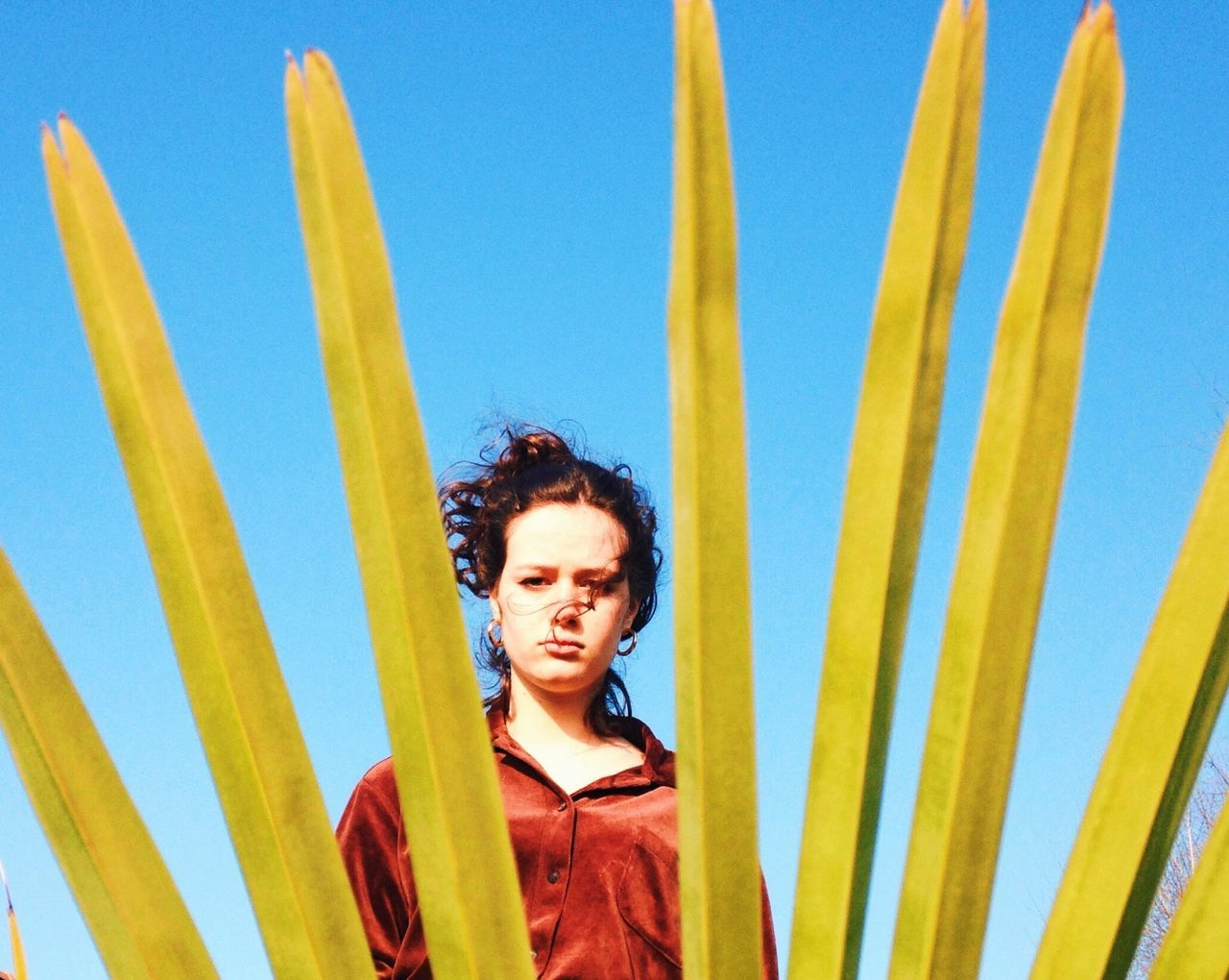 Spring has come ! Lifestyles Nature Young Women Clear Sky Palm Tree Blue Sky Spring Springtime Composition Portrait Curly Hair Blue Outdoors Waist Up Front View Look Looking At Camera Strongwoman Deep Colors Strength