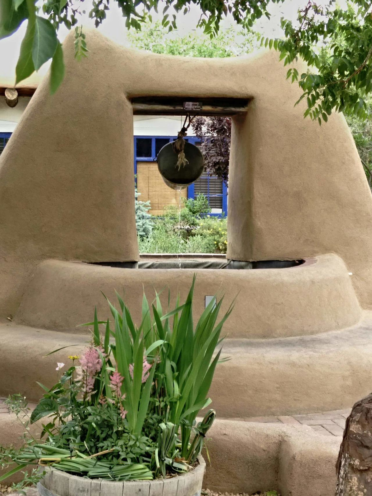 Adobe Water Well Architecture Built Structure Building Exterior Window Plant House Residential Structure Growth Day Outdoors No People Stone Material Green Color Albuquerque New Mexico Old Town Plazuela Frontier Life Historic