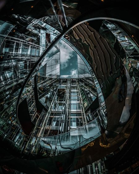 Architecture Built Structure Indoors  Low Angle View No People Day Spiral Staircase Fish-eye Lens Space City
