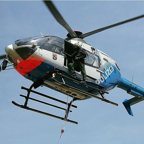 Human Cargo Helicopter Police Helicopter Air Work Heros , Koblenz Germany