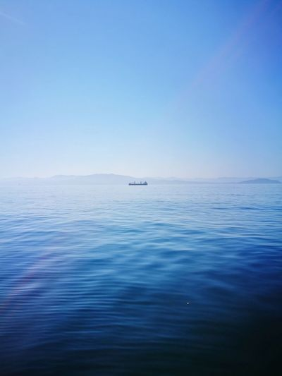 Boat Sea Blue Sky Outdoors Tranquility Landscape Water Cies Islands Horizon Over Water Nature Clear Sky Sailing First Eyeem Photo