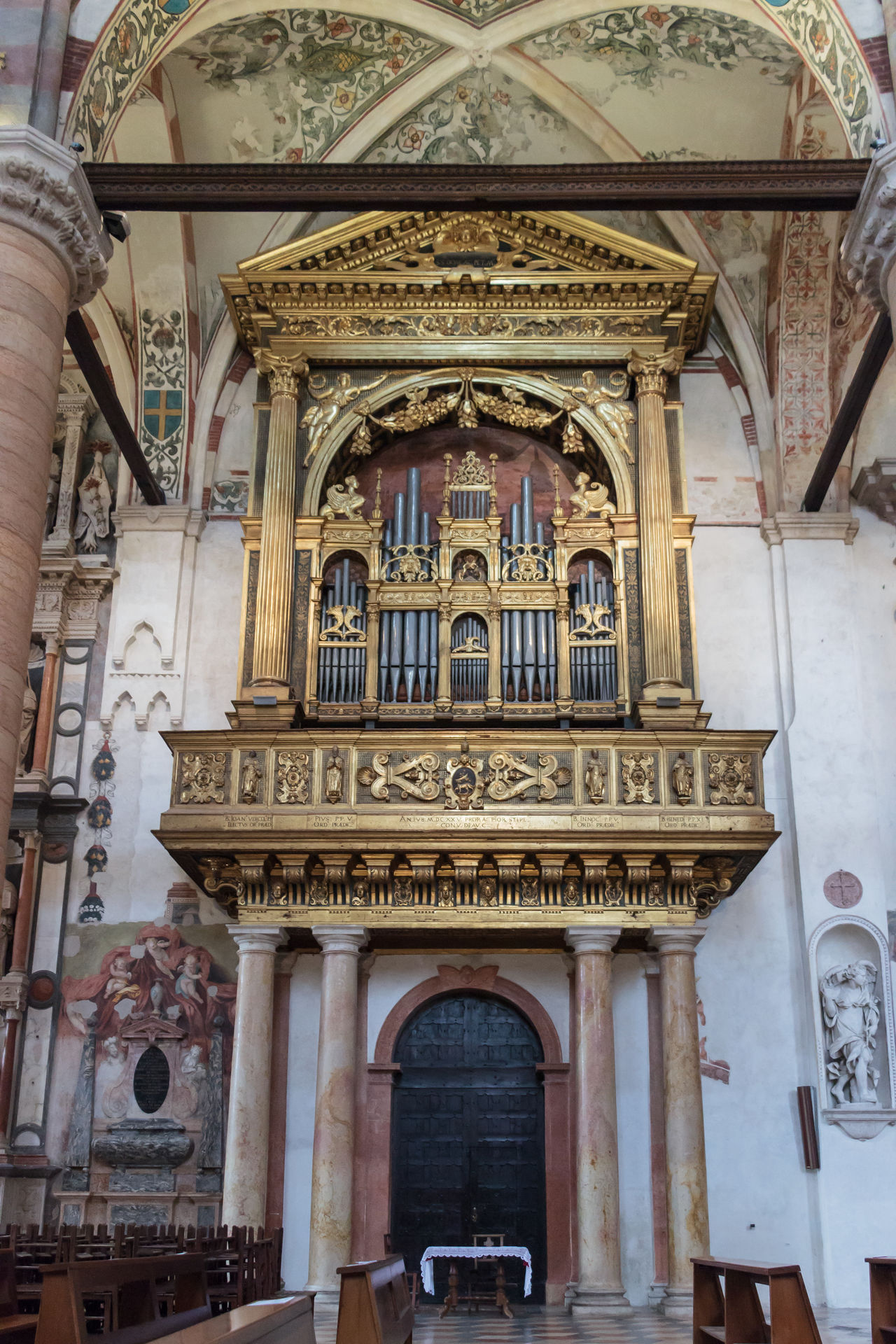 Verona, Italy - September 27, 2015 : Interior of Santa Anastasia Church in Verona, Italy. Santa Anastasia is a church of the Dominican Order in Verona, it was built in 1280 -1400 Anastasia Ancient Arch Architecture Art Catholic Christian Church City Culture Day European  Famous Interior Italian Light Medieval No People Old Religion Santa Travel Unesco Verona View