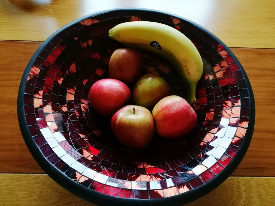 Healthy Eating Table Food And Drink Indoors  Freshness No People Fruit Food Large Group Of Objects Close-up Day Variation Mosaic Dining Room Table Red Shiny Reflection Pink Black Glass Apples Banana Lunchtime Fruit Bowl