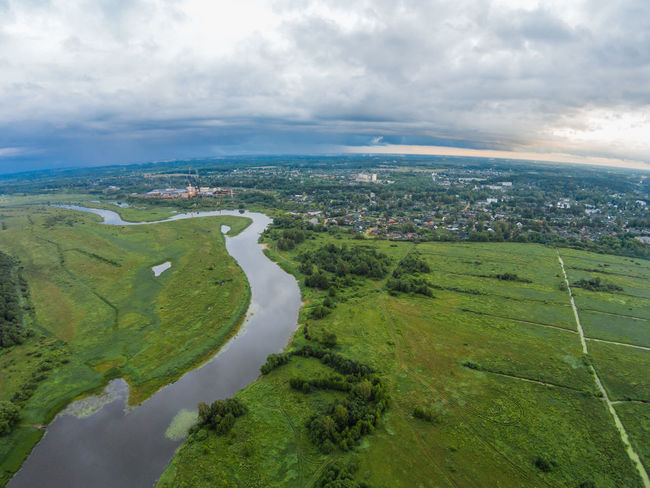 The view from the height of the river Mologa and town Maksatikha. Aerial Aerial View City Cityscape Cloud - Sky Dronephotography Green Color Growth Landscape Maksatiha Maksatikha Mologa Nature No People Outdoors River Russia Scenics Sky Water