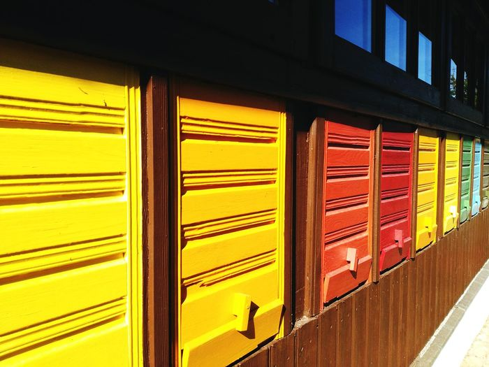 Bienenhaus Yellow Red Multi Colored Day No People Indoors  Architecture Close-up City Bee 🐝 Window Didactic Outdoors Shadows & Lights Light And Shadow Neon Life Paint The Town Yellow