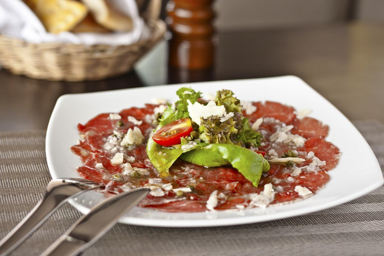 Close-Up Of Beef Carpaccio Served In Plate