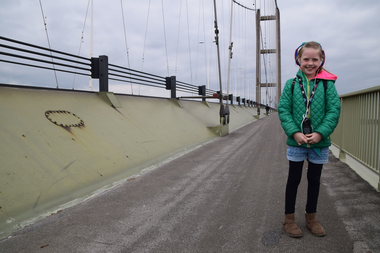 Casual Clothing One Person Full Length People Cloud - Sky Front View Outdoors Sky Children Only Fashion Day Child Bridge - Man Made Structure Childhood Portrait Blond Hair City Young Adult One Girl Only Girl Humber Bridge Hull City Of Culture 2017 Hull Hull2017 Hull 2017