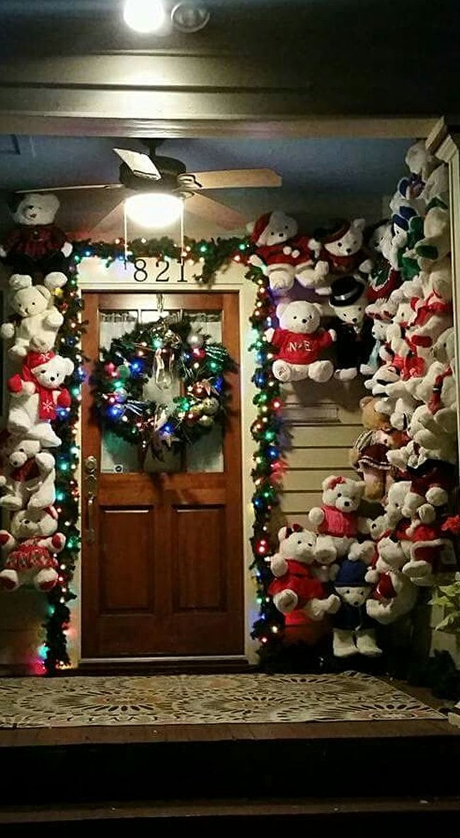 The Culture Of The Holidays Nofilter Noedit Illuminated Decoration Christmas Ornament Large Group Of Objects Christmas Decorations Popular Photos Eyemphotos Eyemphotography Vibrant Color Bears Stuffedanimals Doors Entryway