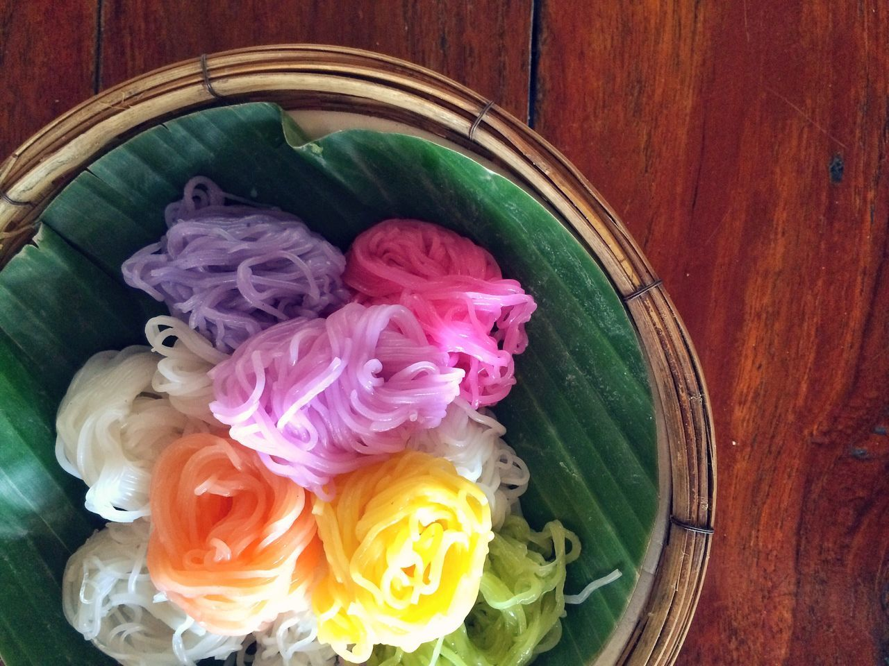 EyeEmNewHere Freshness Noodles Rice Vermicelli Thailand Colorful Curry Thai Food Food Top View Banana Leaf Pink Purple Orange Yellow Rice