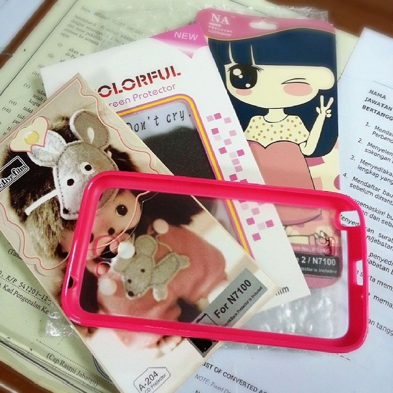 Arrived!! Yeah.. N7100 LCDProctector Phone_casing from China