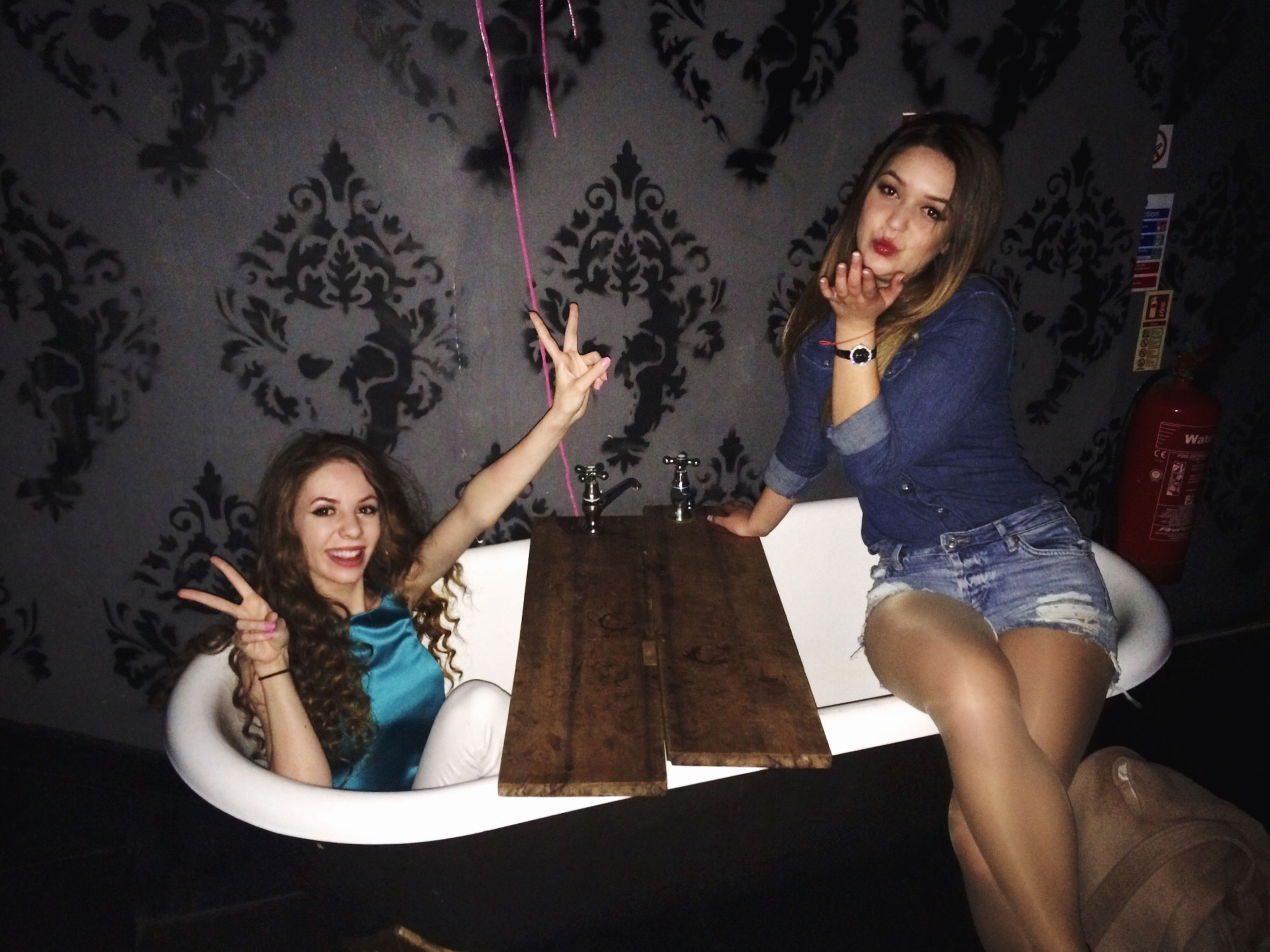 two people, young women, young adult, fun, adults only, adult, nightlife, sitting, women, lifestyles, party - social event, indoors, night, people, antler, friendship, alcohol, happy hour