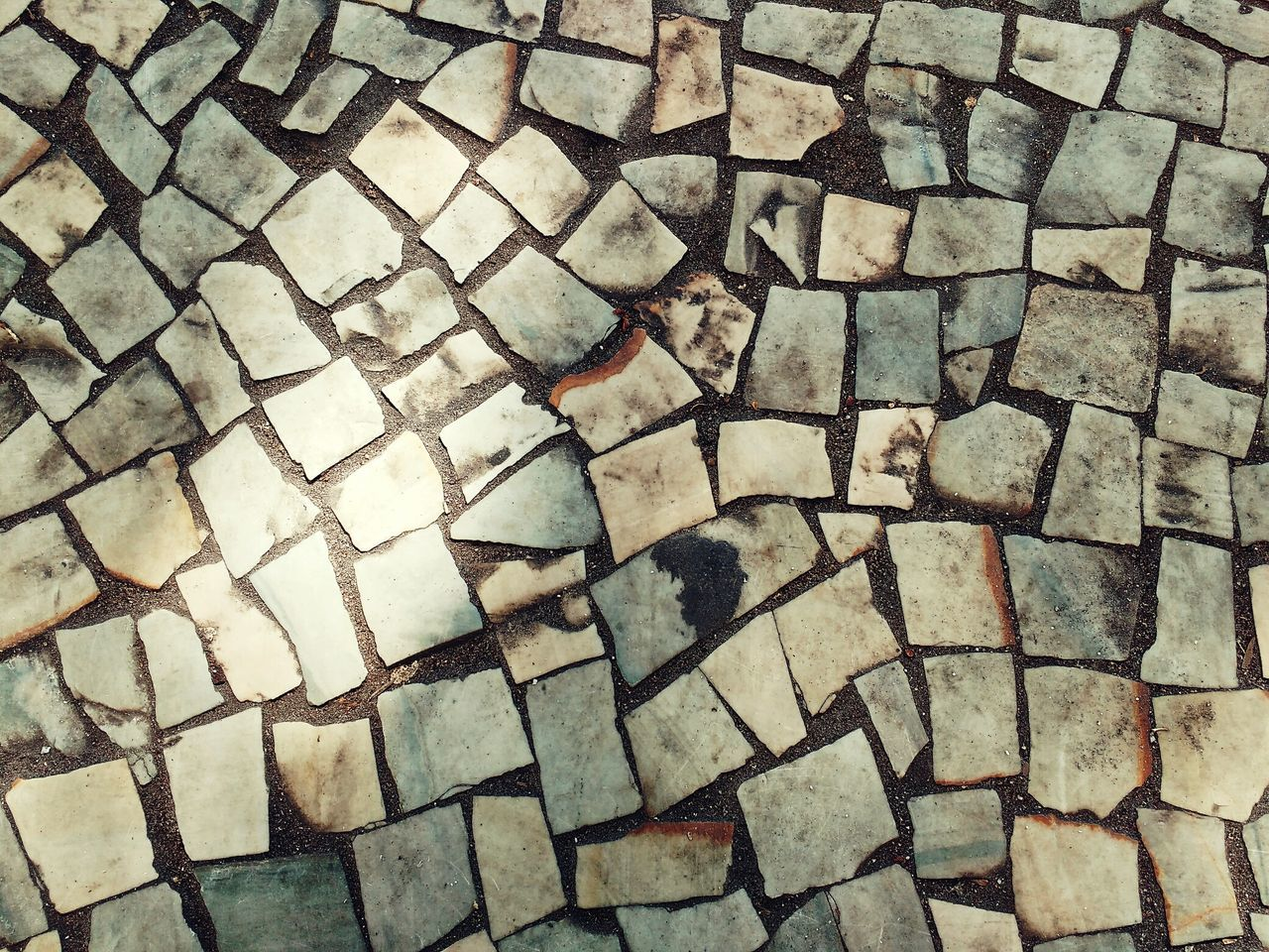 Full Frame Pattern Backgrounds High Angle View No People Outdoors Close-up Brick Street Cobblestone Cobble Stone Pavement Sidewalk Contrast Vintage Retro Stone Rough Texture Ground Man Made Floor Tiles City Alley