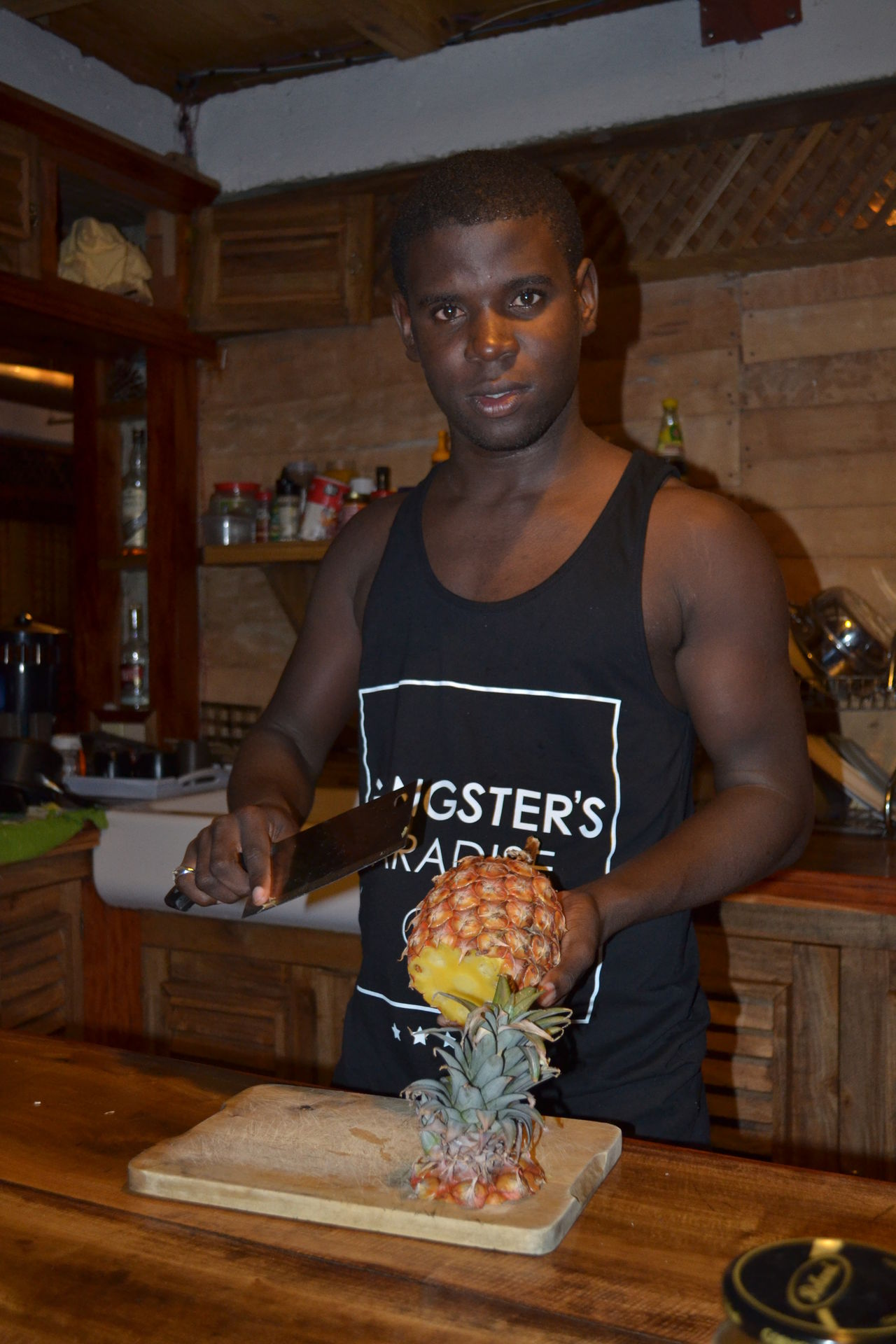 Pineapple Blackandwhite Cooking Exotic Fruits One Man Bungalow Kitchen