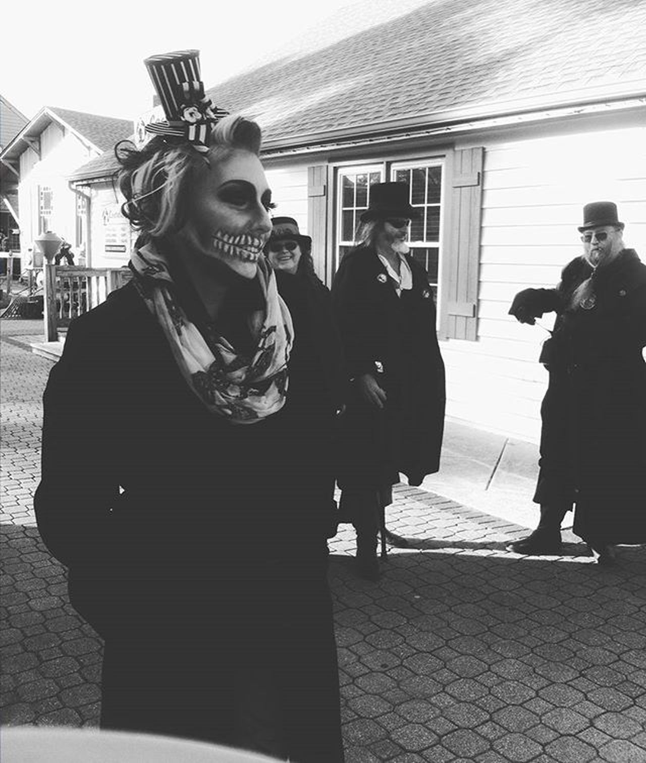 One last Halloween photo ___________________________________ Halloween Candid Photooftheday Bw Blackandwhite Skull Dressup Scary Cosplay Costume Ootd Mua Makeup Pretty Hair Fun Smithvillezombiewalk