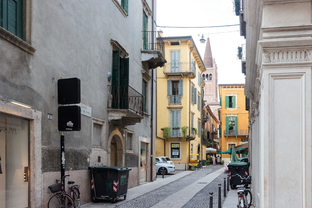 Verona, Italy - September 27, 2015 : Quiet streets of the old city of Verona. Corte S. Giovanni in Foro street corner in Verona, Italy Architecture Architecture Art Building City Culture Day Europe Famous History House Italy Landmark Old Outdoors People Square Street Tourism Town Travel Urban Verona View Walking