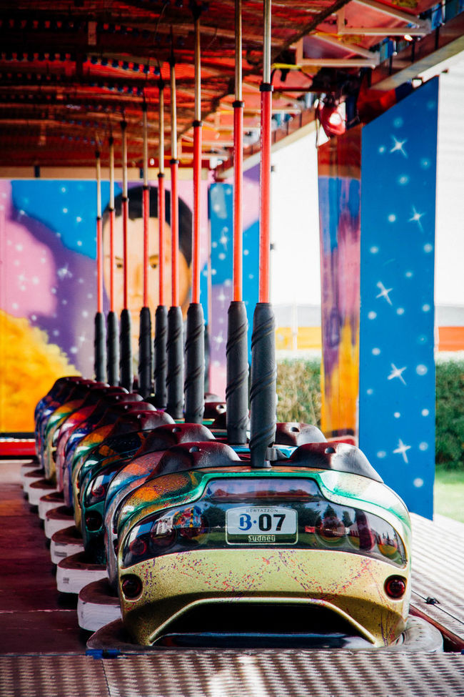 Closed Colorful Dodgem Dodgem Cars Dodgems Fairground Fairground Attraction Fairground Ride Focus On Foreground In A Row Multi Colored No People Selective Focus