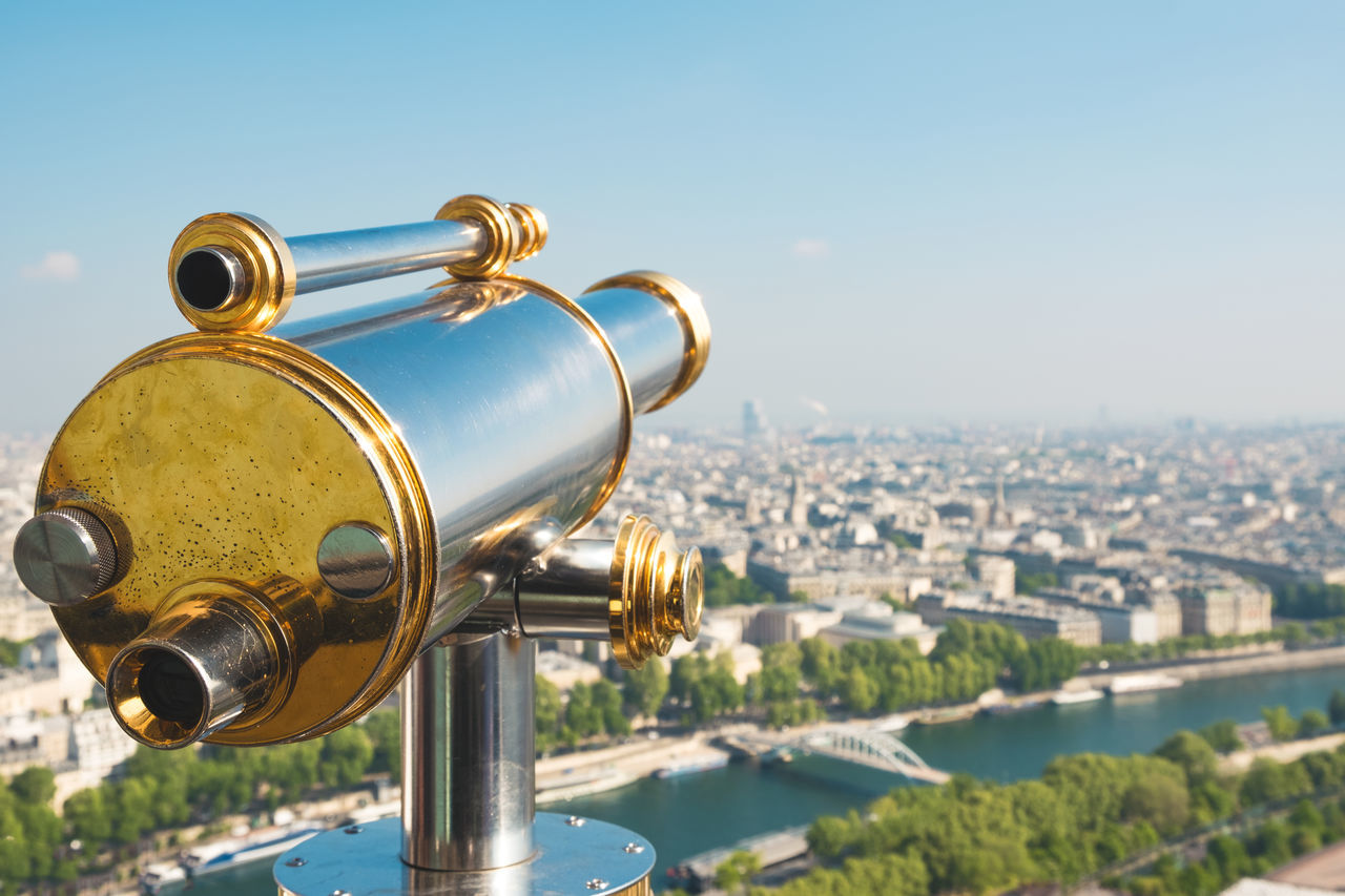 Architecture Bridge - Man Made Structure Building Exterior Built Structure City Cityscape Close-up Coin Operated Coin-operated Binoculars Copy Space Crowded Day Eiffel Tower Gold Colored Metal Outdoors Panoramic Seine River Sky Surveillance Telescope Tourism Travel Travel Destinations Watching