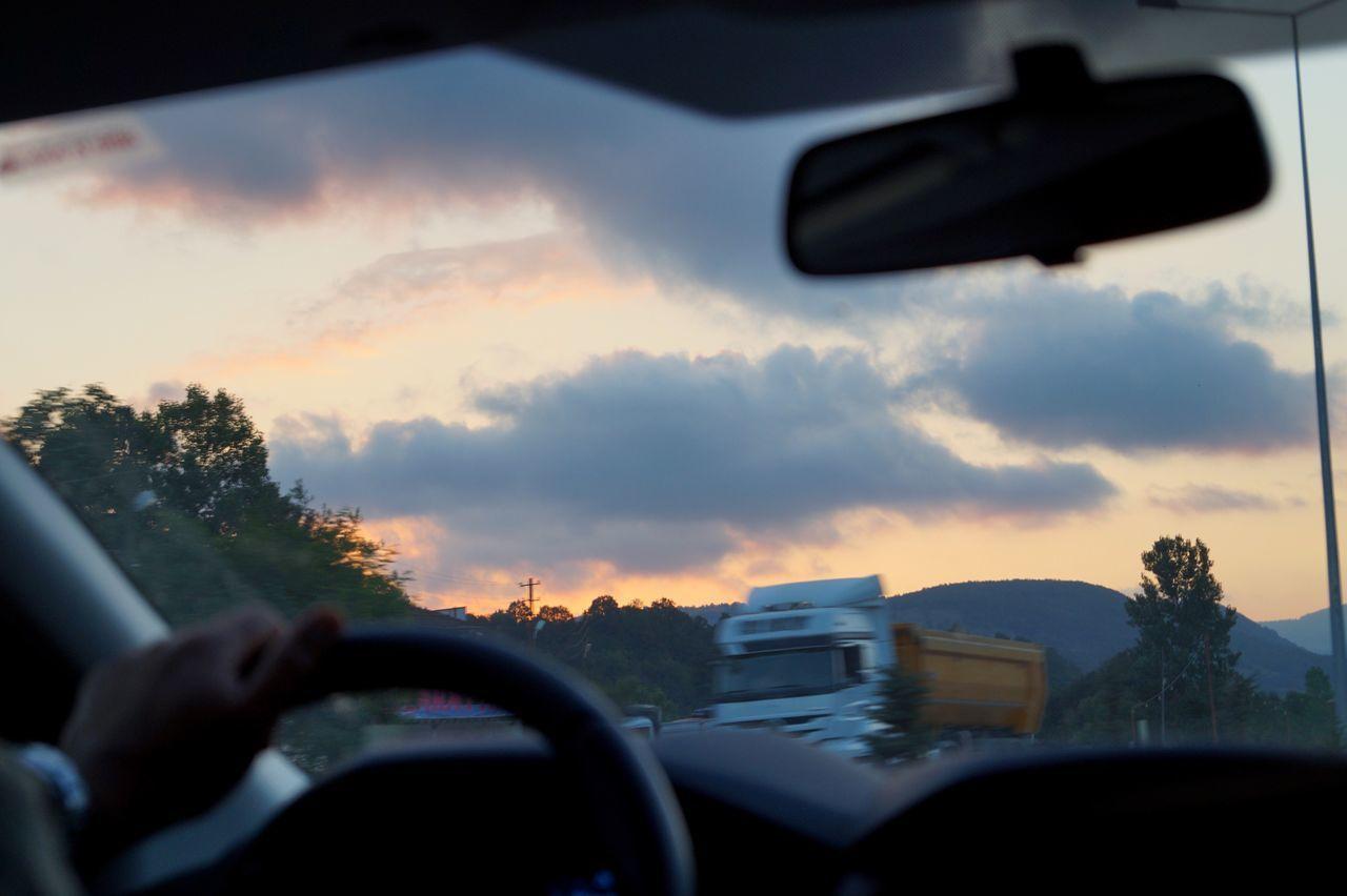 Car Transportation Vehicle Interior Land Vehicle Car Interior Mode Of Transport Windshield Dashboard Sky Sunset 2015  Turkey No People Driving Windscreen Steering Wheel Day Vehicle Mirror
