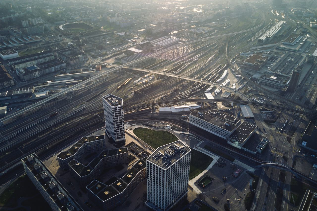 Aerial View Architecture Building Exterior City City Life Cityscape Downtown District Dronephotography Flying High High Angle View Illuminated Outdoors Rails Railway